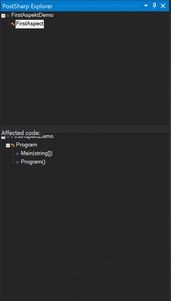 Explorer pokaże nam zarówno nasze aspekty jak i kod, który jest z nimi związany